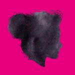 Black head on pink background