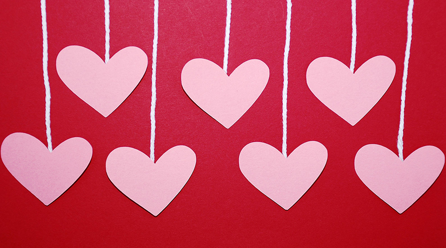 Picture of hearts on a string