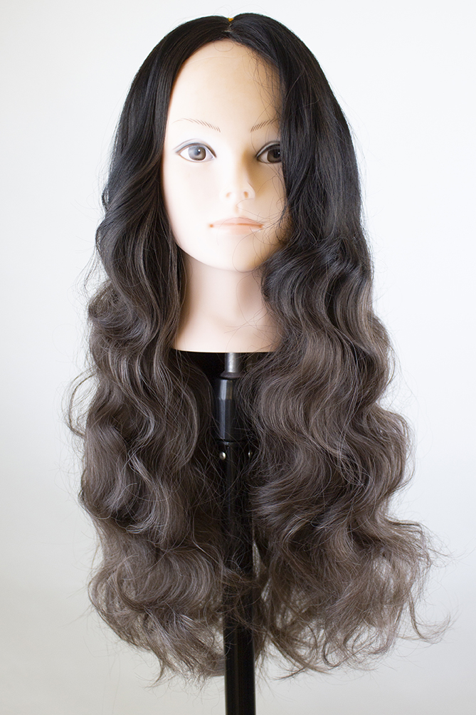 brushed out wig after