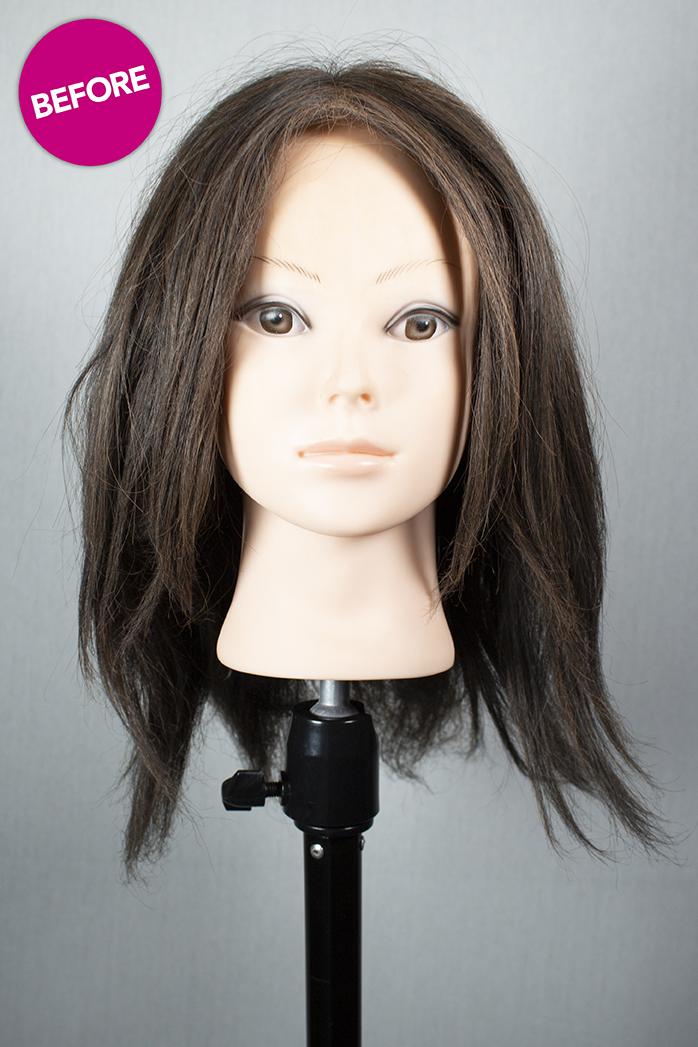 brown wig before